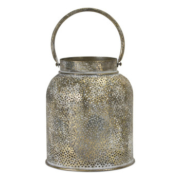 "9"" Weathered Patina Metal Candle Lanterns Candle Holders, Set of 2"