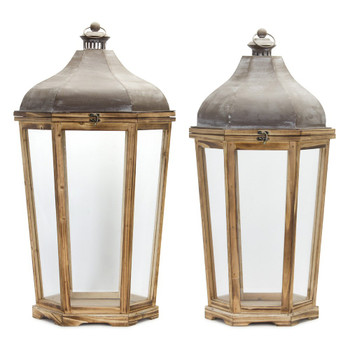 Venetian Iron and Wood Candle Lanterns Candle Holders, Set of 2
