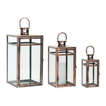 Metallic Copper Corals Metal and Glass Candle Lanterns Candle Holders, Set of 3