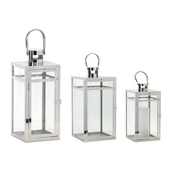 Shiny Corals Stainless Steel and Glass Candle Lanterns Candle Holders, Set of 3