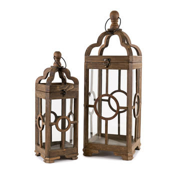 Finial Top Wood and Glass Candle Lanterns Candle Holders, Set of 2