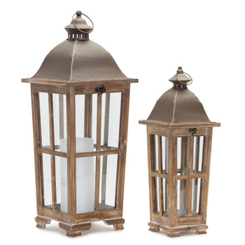 Gift of Light Iron and Wood Candle Lanterns Candle Holders, Set of 2