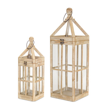 Trapezoid Top Wood and Glass Candle Lanterns Candle Holders, Set of 2