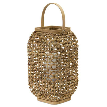 "21.5""H Wicker and Glass Candle Lantern Candle Holder"
