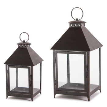 Black Ring Top House Iron Candle Lanterns Candle Holders, Set of 2