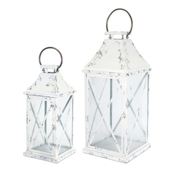X Design Metal Candle Lanterns Candle Holders, Set of 2