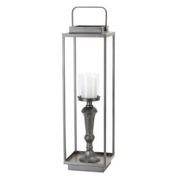 "26.25"" Lantern Design Iron and Glass Pillar Candle Holder"