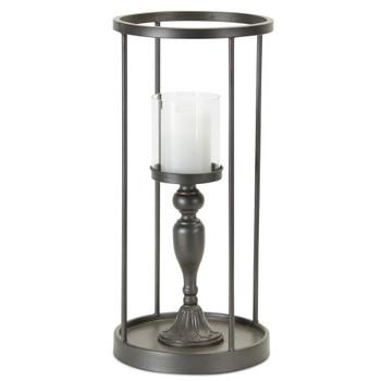 "19.75"" Aurora Iron and Glass Pillar Candle Holder"