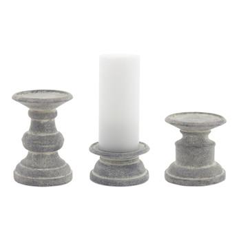 Aged Pedestal Terra Cotta Pillar Candle Holders, Set of 6