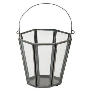 """4.75"""" Bucket Iron and Glass Pillar Candle Holders, Set of 4"""