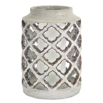 "12.25"" French Country Cement Pillar Candle Holder"