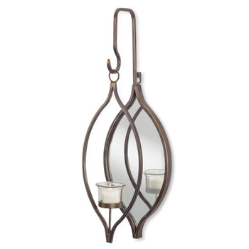 "19.5"" Hanging Tear Drop Metal and Glass Tea Light Candle Holders, Set of 2"