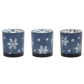 "3"" Glass Snowflake Votive Candle Holders, Set of 3"