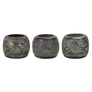 "4"" Punched Metal Votive Candle Holders, Set of 6"