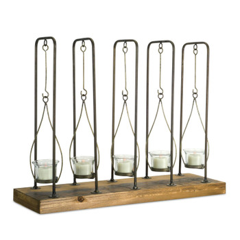 "15.25"" Hanging Wood Metal and Glass Votive Candle Holder"