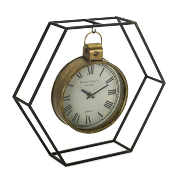 """15"""" Mineral Metal And Glass Table Clock in Stand"""