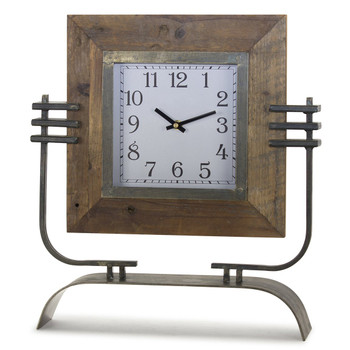 "17.5"" Sidney Iron and Wood Table Clock On Stand"
