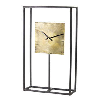 """21.75"""" Shimmering Iron and Copper Table Clock"""