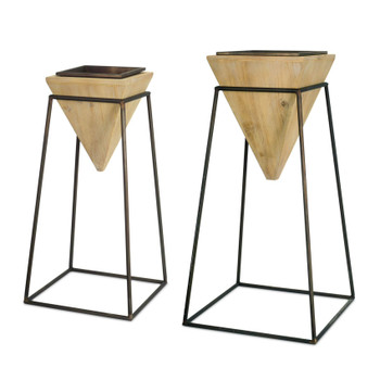 Contempo Metal and Wood Planters, Set of 2