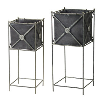Criss Cross Metal Planters with Stands, Set of 2