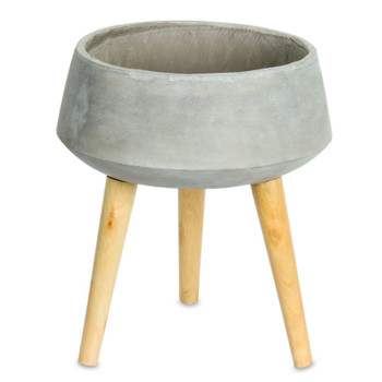 """13"""" Cone Cement Planter on Wood Legs"""