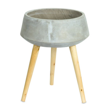 """17.5"""" Cone Cement Planter on Wood Legs"""
