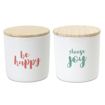 "4.75"" Be Happy Choose Joy Wood and Stoneware Canisters, Set of 2"