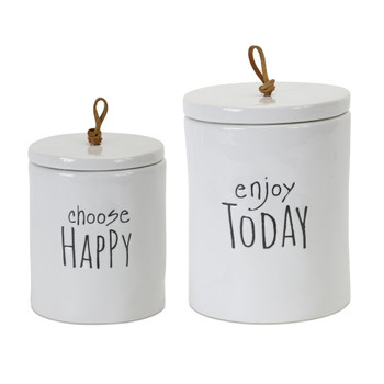 Choose Happy Enjoy Today Stoneware Canisters, Set of 2
