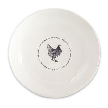 """13.25"""" Chicken Bird Round Stoneware Serving Platters, Set of 2"""