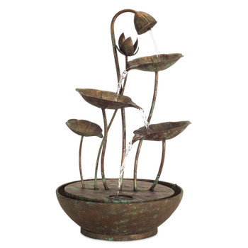 "19.5"" Lotus Leaf Metal Outdoor Fountain"