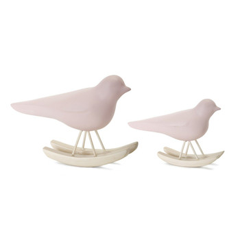 Pink Bird Rockers Resin Sculptures, Set of 4