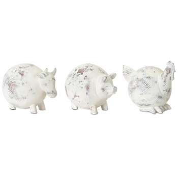 Farm Animal Cow Pig Chicken Resin and Stone Powder Sculptures, Set of 3