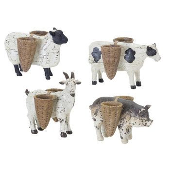 Farm Animals Sheep Cow Goat Pig Resin and Stone Powder Sculptures, Set of 4