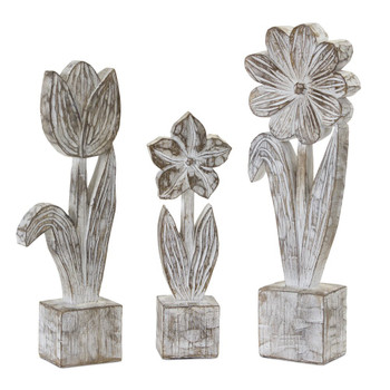 Potted Flowers Resin and Stone Powder Sculptures, Set of 3