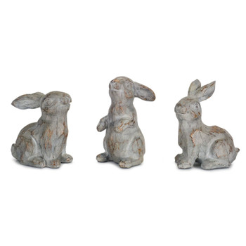 """3.75"""" Expressions Bunny Rabbits Stone Powder and Resin Sculptures, Set of 6"""