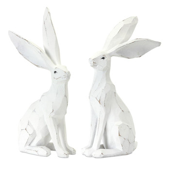 "12"" Whimsical Rabbits Resin and Stone Powder Sculptures, Set of 2"