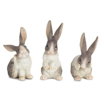 "6.5"" Bashful Bunny Rabbit Resin Sculptures, Set of 6"