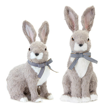 Adorable Sitting Rabbits Polyester and Foam Sculptures, Set of 2