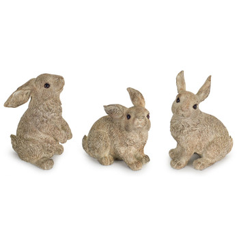 Playful Rabbits Stone Powder and Resin Sculptures, Set of 3