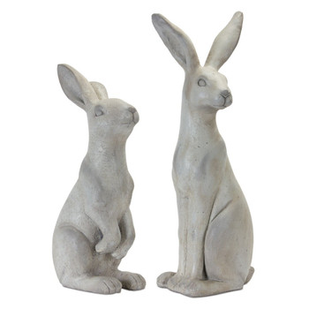 Sitting Rabbits Stone Powder Sculptures, Set of 2
