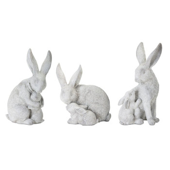 """6"""" Rabbits with Bunny Resin and Stone Powder Sculptures, Set of 6"""