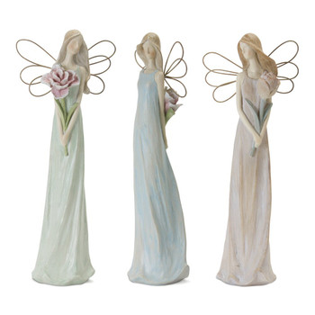 "13"" Pastel Angel Resin and Stone Powder Sculptures, Set of 3"