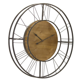 """35.5"""" Grand Scale Iron and Wood Wall Clock"""