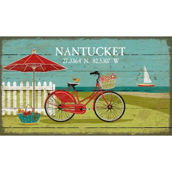 Custom Nantucket Beach Bike Latitude Vintage Style Wooden Sign