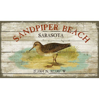 Custom Sandpiper Beach Sarasota Latitude Vintage Style Wooden Sign