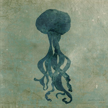 Jellyfish Vintage Style Wooden Sign