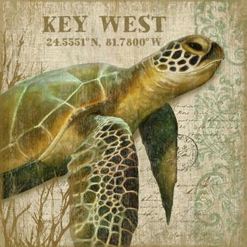 Custom Sea Turtle I Key West Latitude Vintage Style Wooden Sign