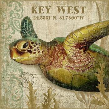 Custom Sea Turtle II Key West Latitude Vintage Style Wooden Sign