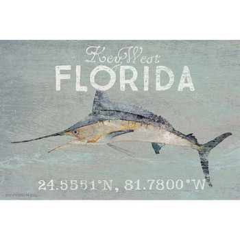 Custom Key West Florida Marlin Latitude Vintage Style Wooden Sign