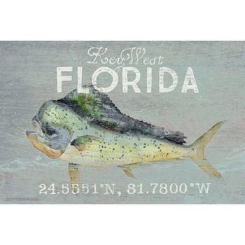 Custom Key West Florida Mahi Latitude Vintage Style Wooden Sign